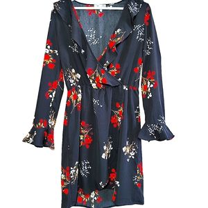 Dex Long Sleeves Floral Wrap Dress Size Small